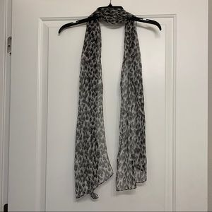 Grey and white animal print tie scarf